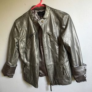 Forever 21 Jackets & Blazers - Metallic Faux Leather Moto Jacket