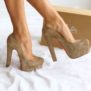 Christian Louboutin Shoes - Authentic Louboutin Nude Suede Daffy Pumps