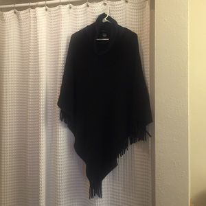 New York & Company black fringe poncho