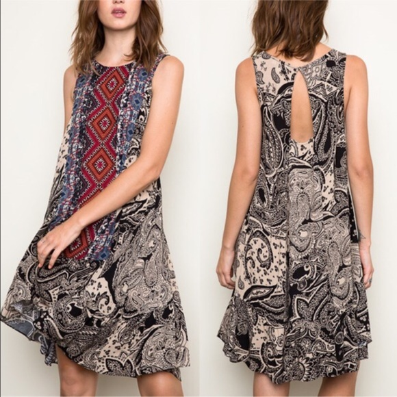 Bellanblue Dresses & Skirts - 🆕EMMA keyhole Tribal Tank Dress - BLACK mix