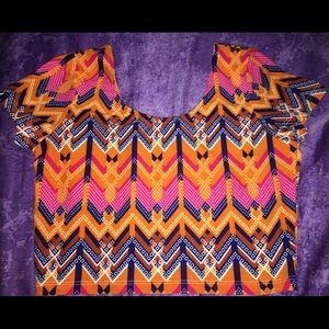 Tops - Bright Tribal Print Crop Top