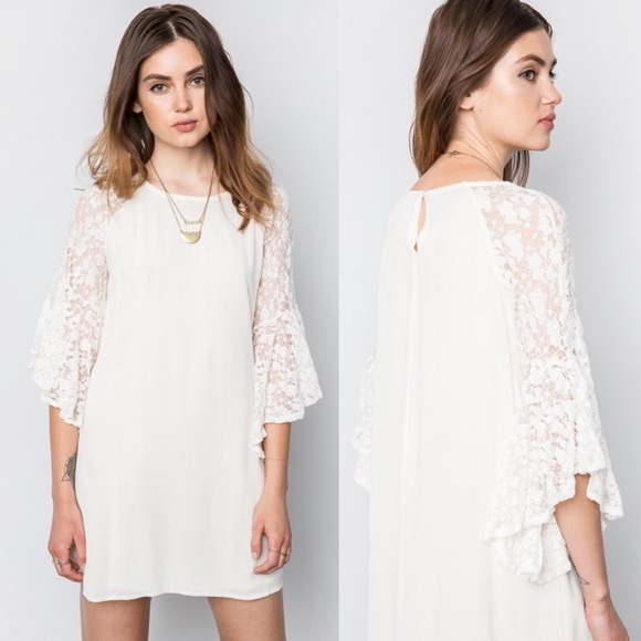🆕CHANTILLY Lace Bell Sleeve Shift Dress - CREAM