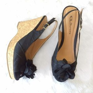 Chinese Laundry Shoes - Chinese Laundry Black Flower Bow Cork Wedges