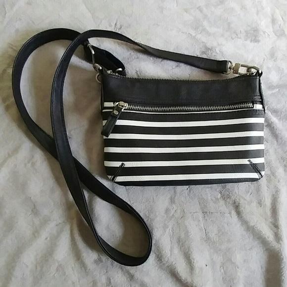Black and white striped crossbody purse. M 573a388836d594dd1e00baee e8d234af4d87b