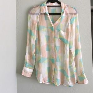 Equipment Pastel Geometric Button down Shirt