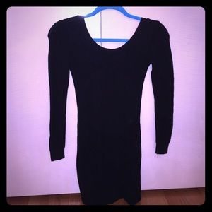 Dresses & Skirts - Pleated Black Form Fitting Sweater Dress