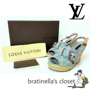 LOUIS VUITTON DENIM WEDGE SANDALS