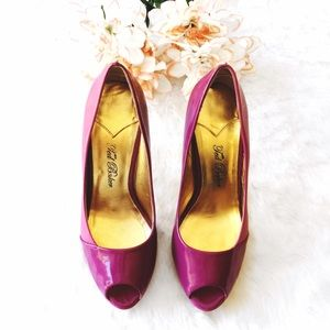 Ted Baker Shoes - Ted Baker Pink Patent &Leather Peep Toe Heels