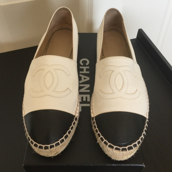70747c81fef CHANEL Shoes - CHANEL White Black Espadrilles Lambskin