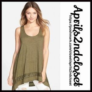 ❗1-HOUR SALE❗TUNIC Hi Lo Swing Tank Crochet Trim