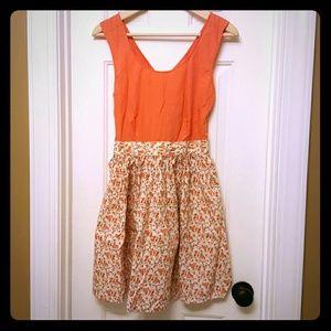 Tulle Dresses & Skirts - Orange Floral cross-back cutout boutique dress