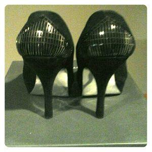 H by Halston black suede  heels