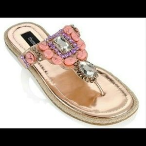 Theme Shoes - THEME Rhinestones Beads Rose Gold Thong Sandals