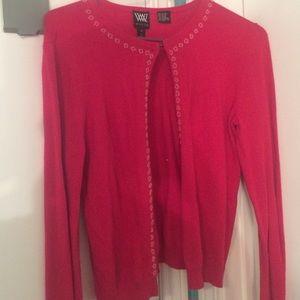 Sweaters - Pink beaded cardigan.