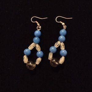 Blue White Stone Earrings