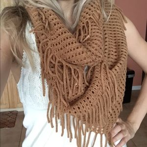 Accessories - *SOLD* woven infinity scarf with fringes
