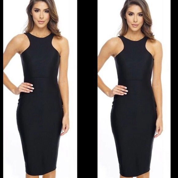 Black sleeveless dress below knee length size Sm 332e72642