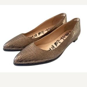 Lanvin Shoes - Lanvin gold  crocco print flats