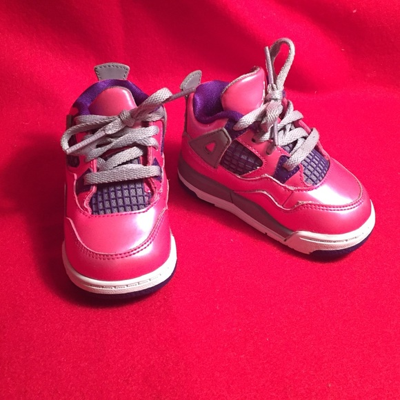 cheap for discount 94b8f cec13 Infant Jordan Retro 4 Pink/Purple/Grey/White