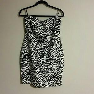 Strapless zebra cocktail dress