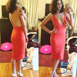 Dresses & Skirts - Plunge neck and open back midi dress orange