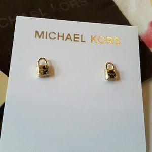 Michael Kors Jewelry - Michael Kors Gold Tone Padlock Stud Earrings NWT