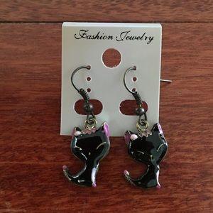 Jewelry - Cute black cat drop earrings