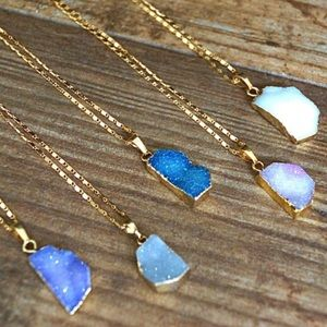 ⚡️SALE! Gold Pastel Druzy Stone Pendant Necklace