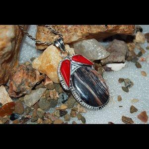 handmade & handcrafted gemstone jewelry Jewelry - Huge Jasper & stylish Red Onyx Statement Pendant