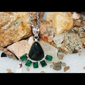 handmade & handcrafted gemstone jewelry Jewelry - Green Fan Onyx Statement Pendant 925S