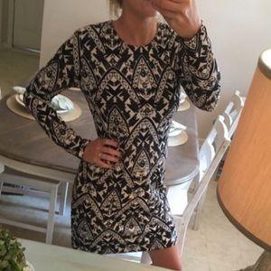 Cato Dresses & Skirts - HP   Long Sleeve Dress; Black & White Pattern