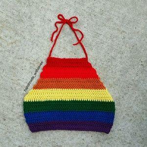 New rainbow crochet crop top