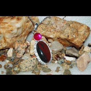 "handmade & handcrafted gemstone jewelry Jewelry - 3"" Bloodstone Statement Pendant"