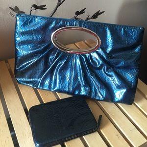 Metallic Pearl Blue Clutch & Wallet