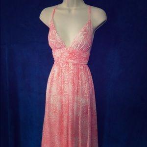 Moda International Pink/white chiffon maxi dress