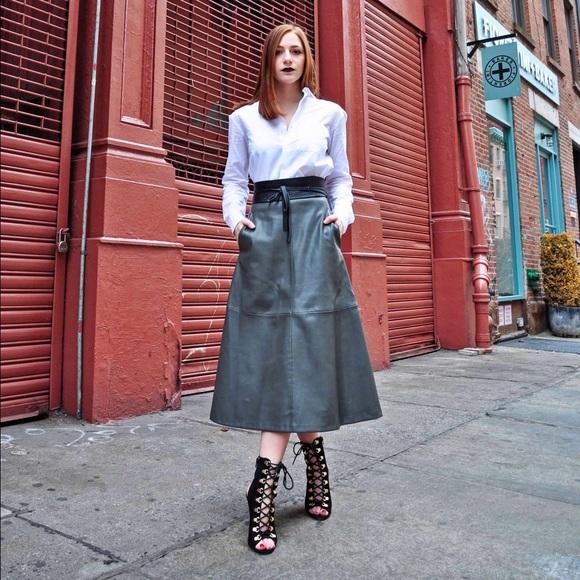 37% off Mango Dresses & Skirts - Mango Faux Leather Midi Skirt ...