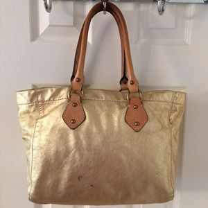  J. Crew Gold Leather Tote Bag