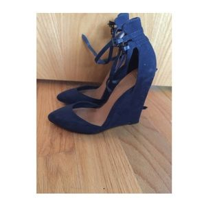 navy blue suede wedge shoes on Poshmark