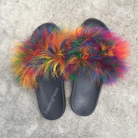 84fd62cb2bb93 Rainbow Color Faux Fur Slides. M 573b70b9ea3f36dbc000960f