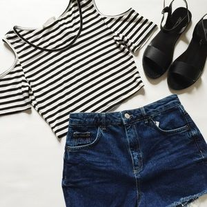 Lush Tops - Cold Shoulder Striped Crop Top