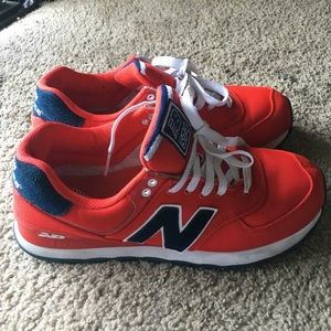Red and navy blue new balance 574!