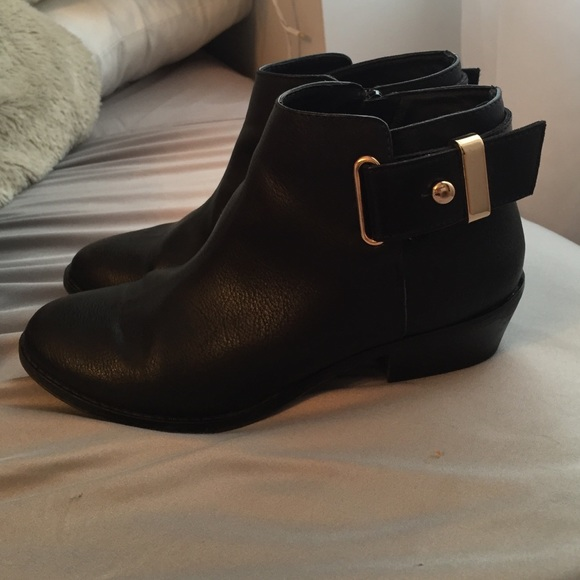 aldo aldo black and gold ankle boots from emily s closet