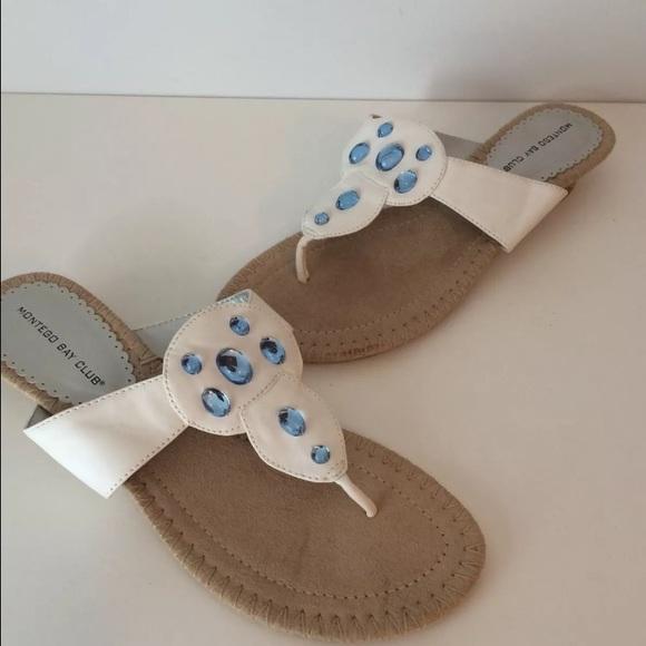 24aa0c100 NEW White Blue Jewel Thong Sandals Flip Flops SZ 9