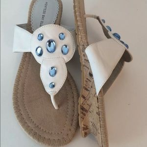 24793baac Montego Bay Club Shoes - NEW White Blue Jewel Thong Sandals Flip Flops SZ 9