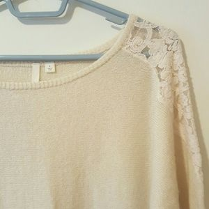 Frenchi Sweaters - Cream Lace Pullover Scoop Neck  sweater
