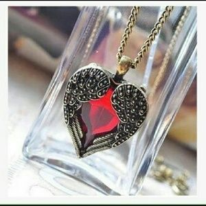 Jewelry - Angel Wings heart red diamond pendant necklace