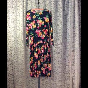 Vintage Dresses & Skirts - Dennis Goldman floral creation on Navy