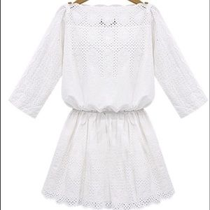 Goodnight Macaroon  Dresses & Skirts - White Eyelet Boat Neck Dress