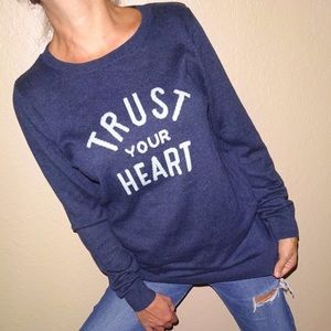 Old Navy TRUST YOUR HEART top navy blue sweater |