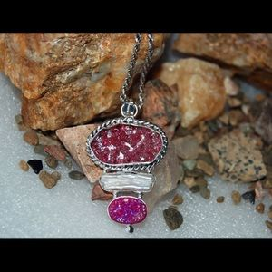 "handmade & handcrafted gemstone jewelry Jewelry - Buble Art Glass,Shell & Drusy Statement Pendant 2"""